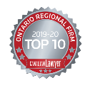 Seal for the 2019 Canadian Lawyer Top 10 Regional Law Firm - Ontario