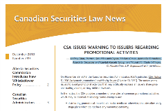 Screen Shot - Canadian Securities Law News Cover