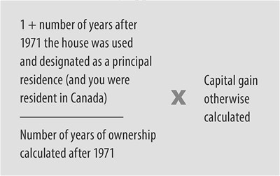 Formula for Capital Gains on your house